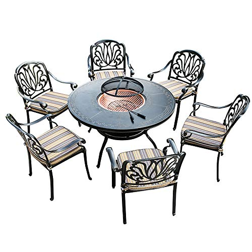 JCCOZ-URG Outdoor BBQ Table Garden Fire Pit Brazier Square Stove Patio Barbecue Suitable for Barbecue Outdoor Dining Party Camping and Garden Decorations URG