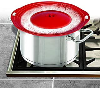 Pot Cover Spill Stopper Lid - Silicone Boil Over Spill Safeguard,FDA Food Grade Stopper Lid Cover for Pots And Pans, BPA-free Instant Pot Cover, 12 Inch Multi-Function Kitchen Tool (Red)