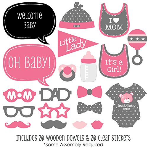 Big Dot of Happiness Baby Girl - Baby Shower Photo Booth Props Kit - 20 Count