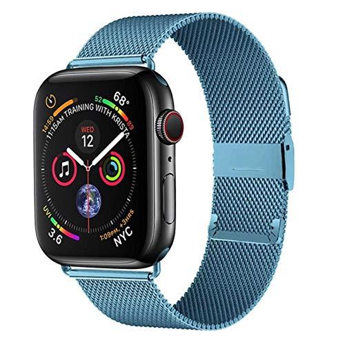 Milanese Loop Band für Apple Watch, Edelstahlarmband iWatch Serie SE / 6/5/4 / 3-Himmelblau, 38MM 40MM