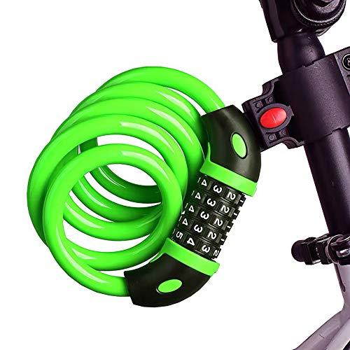 XINGHE Candado de Bicicleta ,Seguridad Candado de Cable Mejor Combinación con Flexible montaje Cable de Bloqueo,antirrobo alta seguridad,para la bicicleta al Aire Libre,parrillas(120cm X12mm) (Verde)