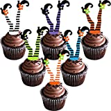 48 Pieces Halloween Cupcake Decorations Witch Leg Feet Cupcake Toppers...