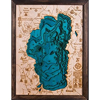 Beautifully Detailed! BLUE Lake Tahoe 3-D Wood Map. 13W x 17L