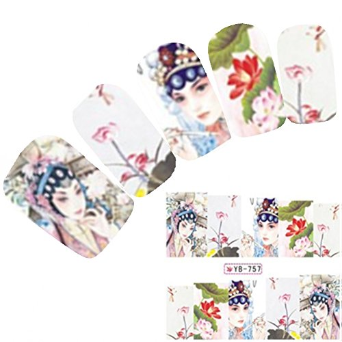 Just Fox – Tattoo Nail Art Autocollants pour le Japon Manga Geisha Water decall