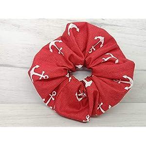 ALSTERschmuck Haargummi scrunchie – rot mit Anker