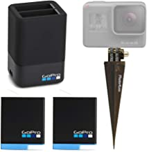 GoPro Dual Lithium-Ion Battery Charger + 2 x Batteries for HERO8 Black / HERO7 Black / HERO6 Black + Brown Spike Mount – Bundle