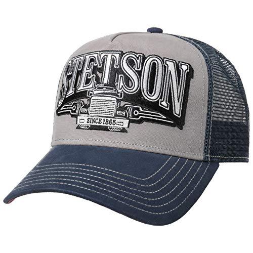 Stetson Trucking Trucker Cap Herren - Baseballcap aus Baumwolle - Größenverstellbare Meshcap (55-60 cm) mit Logo-Stickerei und Truck-Motiv - Snapback Frühjahr/Sommer blau One Size