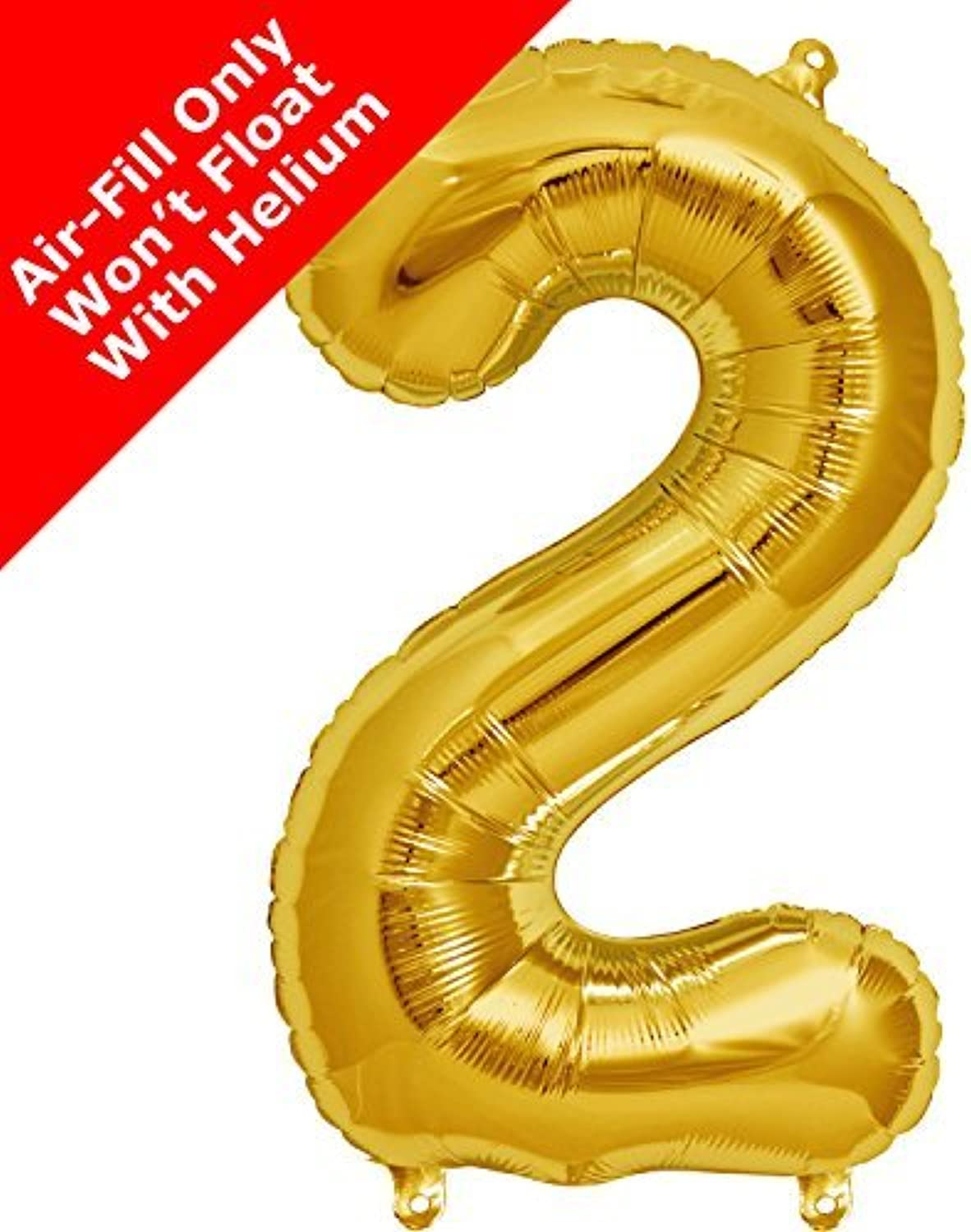 16 inch gold Number 2 Foil Balloon by Signature Balloons