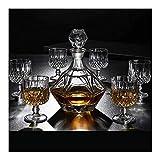 Decantador De Vino Decantador De Whisky Y Juego De Vasos Decantador De Whisky De Vidrio 100% Sin Plomo 800Ml Caja Estilo Único 7 Piezas