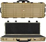Eylar 44 Inch Protective Roller Tactical Rifle Hard Case with Foam, Mil-Spec Waterproof & Crushproof, Two Rifles Or Multiple Guns, Pressure Valve with Lockable Fittings Tan