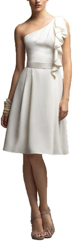 Dearta Women's ALine OneShoulder KneeLength Satin Bridesmaid Dresses