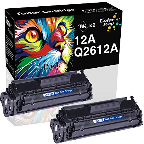 (2-Pack, Black) Compatible Q2612A 12A Toner Cartridge 2612A Used for HP HP Laserjet 1010 1012 1018 1020 1022 1022N 3015 M1005 M1319F Canon D420 D450 D480 MF 4150 4350D 4370DN Printer, by ColorPrint