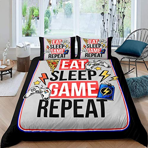 Loussiesd Gamepad Comforter Cover Video Game Bedding Set for Boys Children Kids Teens Gamer Duvet Cover Pizza and Modern Game Controller Room Decor Super King Size Quilt Cover 3Pcs