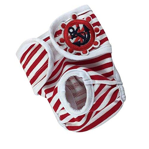 KINGDUO Mujer Perro Mascota Panty Pantalones Sanitarios Ropa Interior Pantalones Lindos del Animal Doméstico Pantalones Cortos De Algodón para Mascotas Bragas Fisiológicas-Rojo S