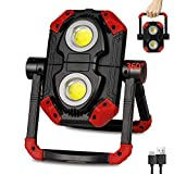 LED Work Light Rechargeable, 2 COB 2500LM Folding Portable Flood Light with Magnetic Base and 360° Rotation Stand, Waterproof Spotlights for Camping, Car Repairing, Emergency and Job Site Lighting