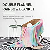 Colorful Throw Blanket, Rainbow Throw Blanket COCOPLAY W Super Soft Fuzzy Light Weight Luxurious Cozy Warm Microfiber Blanket for Bed Couch Living Room (Pink Rainbow, Throw (50'x60'))