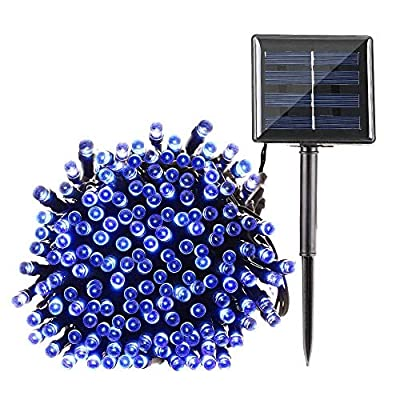 Qedertek Solar String Lights, 72ft 200 LED Fairy Christmas Lights, 8 Modes Ambiance Lighting for Outdoor, Patio, Lawn, Landscape, Garden, Home, Wedding (Blue)
