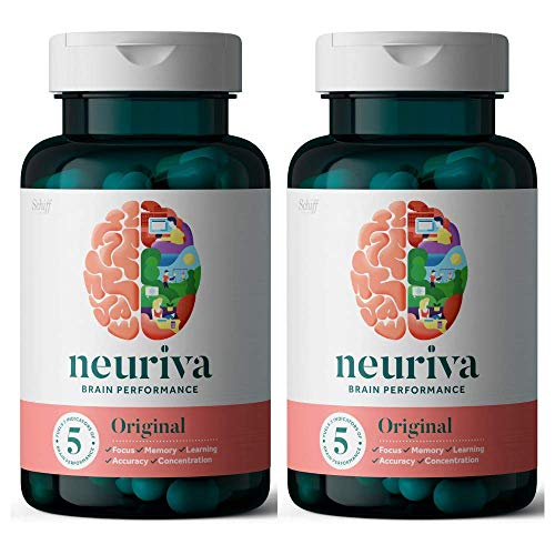 NEURIVA Original Brain Performance (30 count), Brain Support Supplement With Clinically Proven Natural Ingredients 1 ea ( Pack of 2)