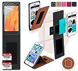 Hülle für Wileyfox Spark+ Tasche Cover Hülle Bumper | Braun Leder | Testsieger