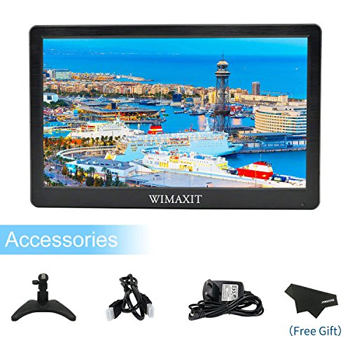 Wimaxit 12 Inch Portable Monitor HD 1920 x 1080 IPS LCD HDMI Monitor Screen Input Audio Video Camera DVD Security CCTV DVR Recorder with HDMI Cable for PC Computer Home Office Surveillance
