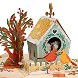 Paper Love Birds House Pop Up Valentines Day Card, Handmade 3D Popup Greeting Cards for Valentines Day, Mothers Day, Wedding, Anniversary, Love, Romance, Thank You, Thinking of You, All Occasion | 5' x 7'