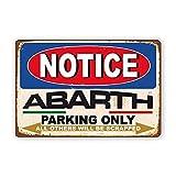Oddss Abarth Car Auto Parking Only Vintage Cartel de chapas, Decoración de Placa de Pared de...
