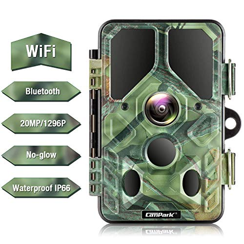 Campark WiFi Bluetooth Trail Camera 20MP 1296P, No Glow Night Vision Game Camera Motion Activated...