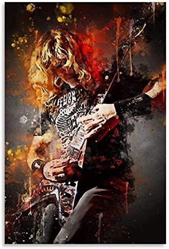 Amacigana Cuadro en lienzo Dave Mustaine Megadeth para decoración de oficina, pósteres...