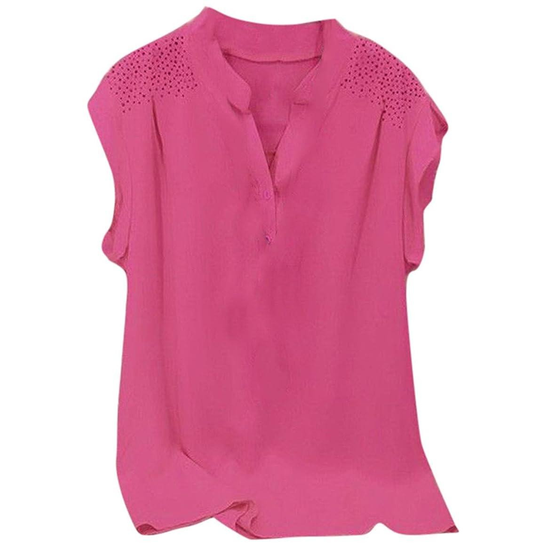 ポーク復活する凍ったカットソー レディース Rexzo ラウンドネック フリル袖 トップス ボタンダウン ブラウス 純色 無地 Tシャツ ファッション シンプル シャツ さっぱりした 夏服 綺麗 洋服 柔らかい 着やせ ティーシャツ 通勤 リゾート ギフト
