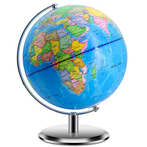 "World Globes for Kids - Larger Size 12"" Educational World Globe with Stand Adults Desktop Geographic Globes Discovery World Globe Educational Toy for Children - Geography Learning Toy (12inch)"