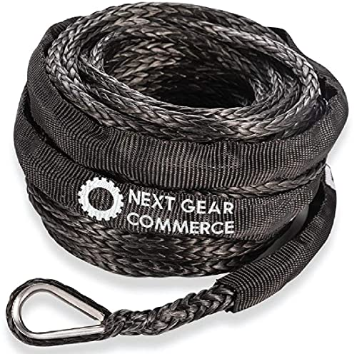 Synthetic Winch Rope 8200 lbs NEXT GEAR COMMERCE- 3/16' x 50' 8200 lbs Winch Line Cable Rope with Protective Sleeve for 4WD Off Road Vehicle ATV UTV SUV Motorcycle