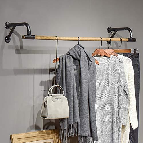 Hölzerne Wand kleidet hängende Stange, industrielle Kleiderstange, Kleiderständer-Handelskleidungs-Präsentationsständer (Size : 80x29x16cm)