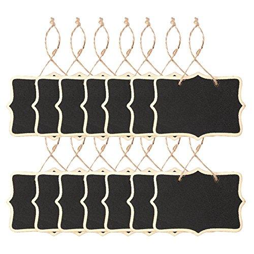 WOVELOT 14 pizarras para colgar pizarras rectangulares, de doble cara, para bodas, manualidades infantiles, jardín, color negro