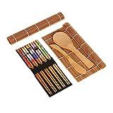 LACKINGONE Juego de 14 piezas para sushi de bambú para principiantes, set de sushi para hacer sushi, 2 esterillas enrollables + 5 pares de palillos + 1 cuchara de arroz + 1 remo