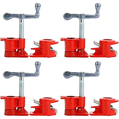 "Yaetek (4 Pack) 3/4"" Wood Gluing Pipe Clamp Set Heavy Duty Woodworking Cast Iron Clamps by Long Time Trading"