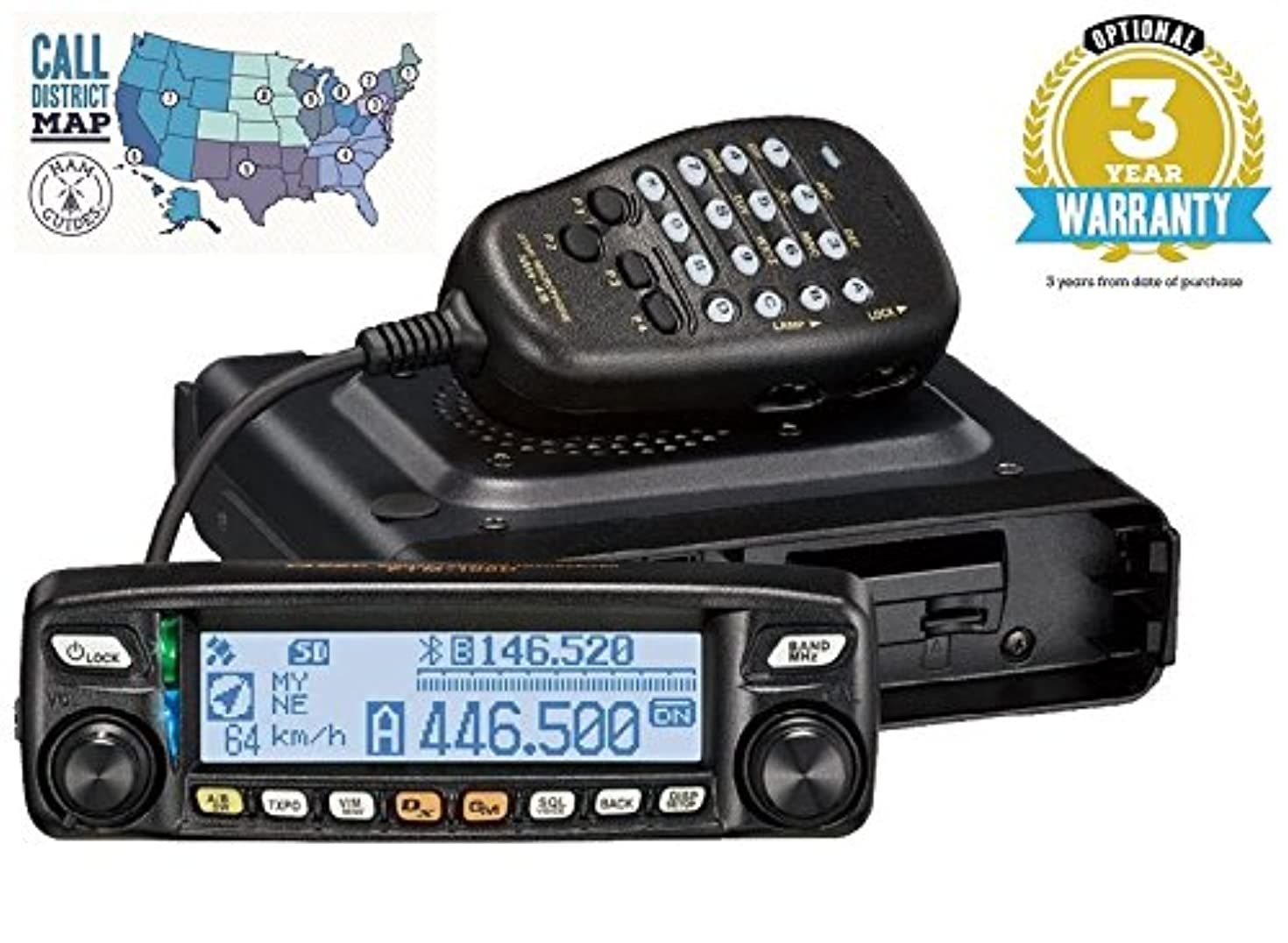Yaesu FTM-100DR VHF/UHF 50W Mobile Transceiver W/ 3 Year Warranty and Ham Guides TM Pocket Reference Card!!