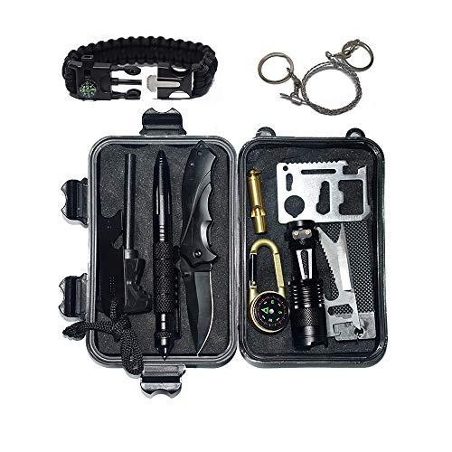 Außen Survival Kit 12 in 1 Set, Notfall Self Help Sport Camping Wandern Werkzeuge Box Set mit Klappmesser, Feuerstarter, Kompass, Taschenlampe, Whistle, Tactical Pen, Wasserdichte Survival Kit Box