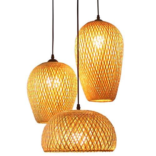Lámpara colgante 3-Llama comedor Lámpara de mesa lámpara colgante redondo retro bambú trenzado de ratán natural Lámpara Colgante de jardín de la mano E27 Altura ajustable de la lámpara de techo restau