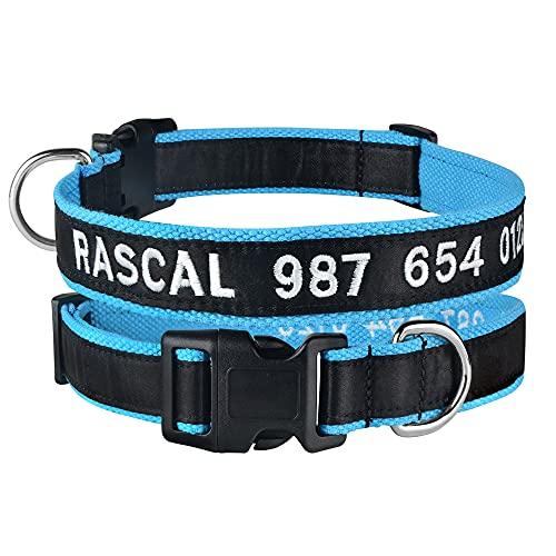 TTCI-RR Collar Perro Personalizado 1 unids Collars de Perro de Nylon Bordados Personalizados Personalizados Nombre del Perrito Nombre Cuello Pet para pequeños Perros Grandes Ajustables Nombre