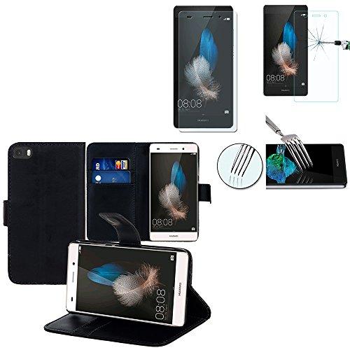 HCN PHONE Custodia Cover + 1 Pellicola Vetro temperato Serie Huawei - PTFsp-Nero, Huawei P8lite ALE-L21