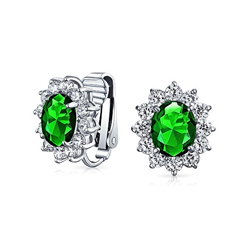 Fashion Formal Holiday Party Bridal Oval Simulated Emerald Green Cubic Zirconia Halo Crown AAA CZ Stud Clip On Earrings For Women Wedding Non Pierced Ear Silver Plated