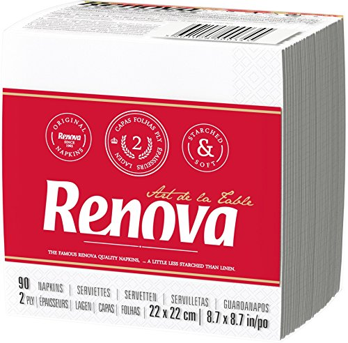 Renova Servilletas de papel Art de la Table Blanca Cocktail - 90 servilletas - [Pack de 9]