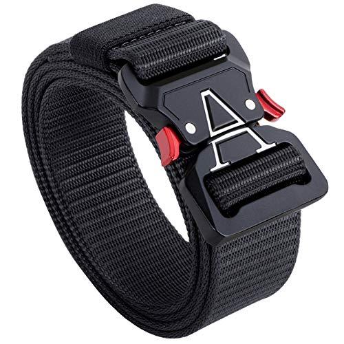 Tactical Belt,1.5 Inch Web Belt, No Holes Quick Release Heavy Duty Web Belt for Men,Tactical Belt for Men (Black., M 36'-42')