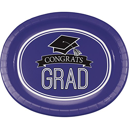 Graduation School Spirit Purple Oval Plates, 24 ct
