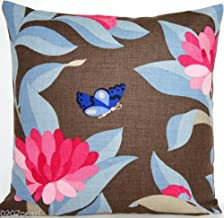 Pink Flowers Decorative Throw Pillow Case Brown Linen Cushion Cover Pattern Bernhardt