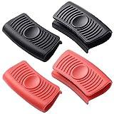 Ceqiny 2 pares de asas silicona para agarraderas ollas agarres para cocinar agarres para wok utensilios de cocina soporte de silicona para ollas de hierro fundido sartenes planchas, negro y rojo