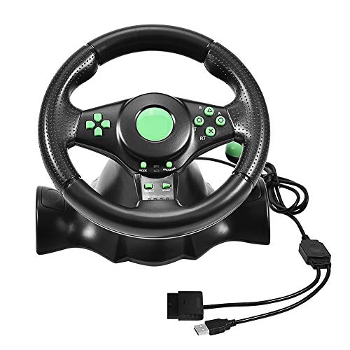 Yoidesu Racing Wheel and Pedals, 23cm Wheels Racing Steering Wheel with Vibration Feedback, 180 Degree Rotation, Video Games Gamepad for Xbox 360, PS2, PS3