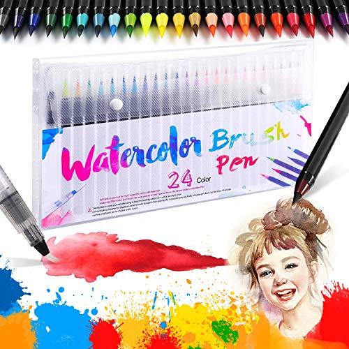 Hirsrian Brush Pen set Pinselstifte - 24 Farben Aquarellstifte + 1 Wasserpinsel Aquarell brush pen mit echtem Nylonbürstenspitzen für Hand-Lettering Kalligraphie Malerei Malbücher