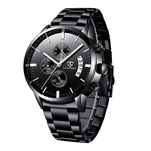 Herren Uhr Chronograph Analog Quarz Männer Militär Armbanduhr Schwarz Klassiker Business Uhren mit Edelstahl Armband