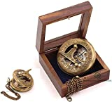Roorkee Instruments Antique Nautical Vintage Directional Magnetic Sundial Clock Pocket Marine Compass Essential Baptism Gifts with Wooden Display Case for Loved Ones, Son, Partner, Spouse, Fiancé 4